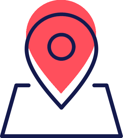 An Icon of a location pin offering nationwide meetings